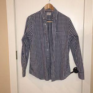 Dockers Navy Checkered Button Down Shirt